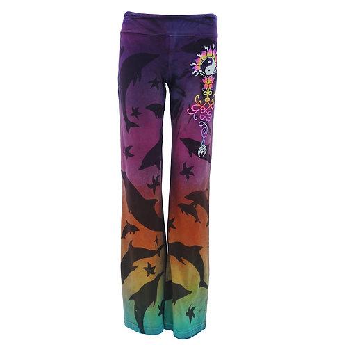 Rainbow dyed Dolphin yoga pants  size M