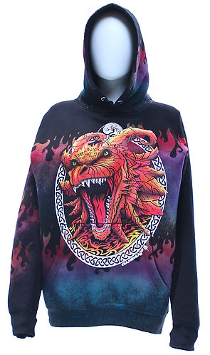 Smiling Dragon on reverse dyed pullover hoodie