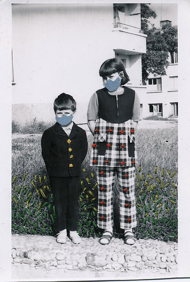 Siblings on a wall in masks (2020)