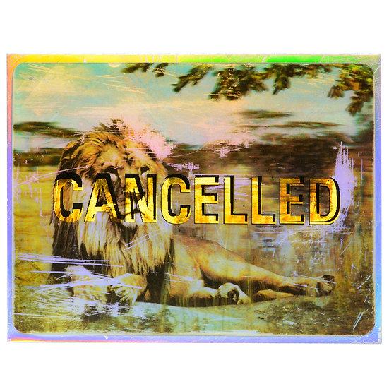 Lenticular Lion - Aluminum post card (2020)
