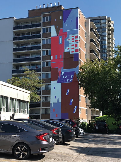 Mock up proposal for Mural Study 4, Mural for the Side of an Apartment Building