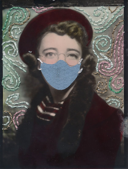 Woman in beret & mask (2020)