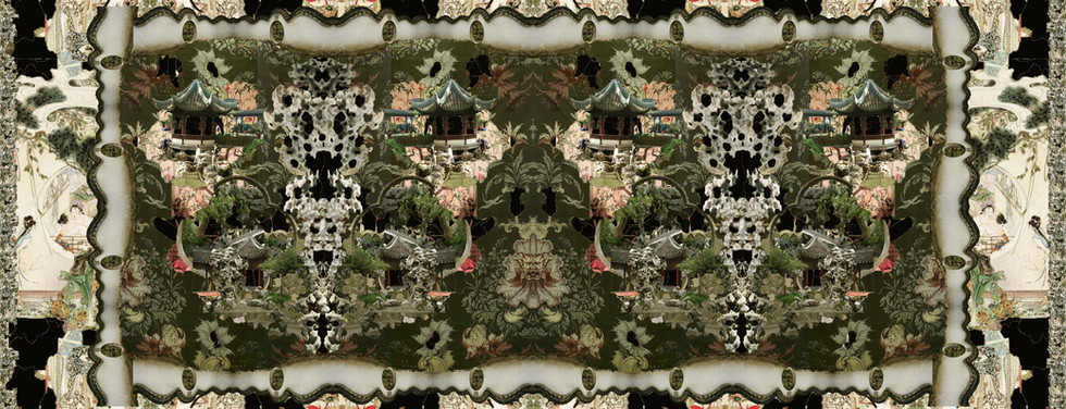 The collaged video tapestry (mask).