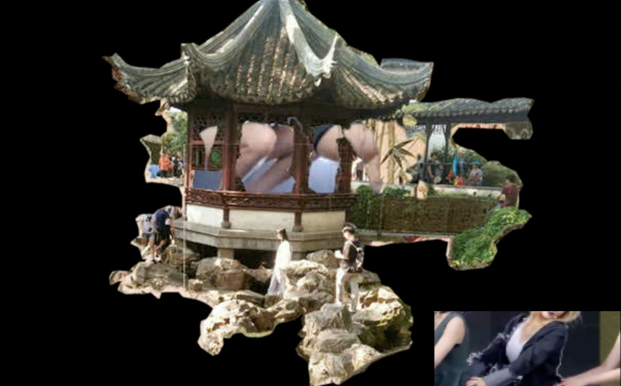 Collage of dancing girls with a pavilion.