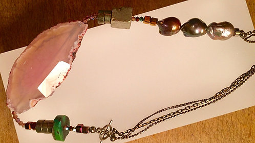 SUNRISE Brazilian Agate and Pearl choker