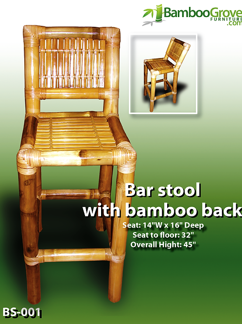 Bamboo Bar Stool With Bamboo Back