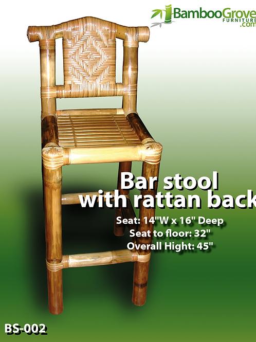Bamboo Bar Stool with Rattan Back