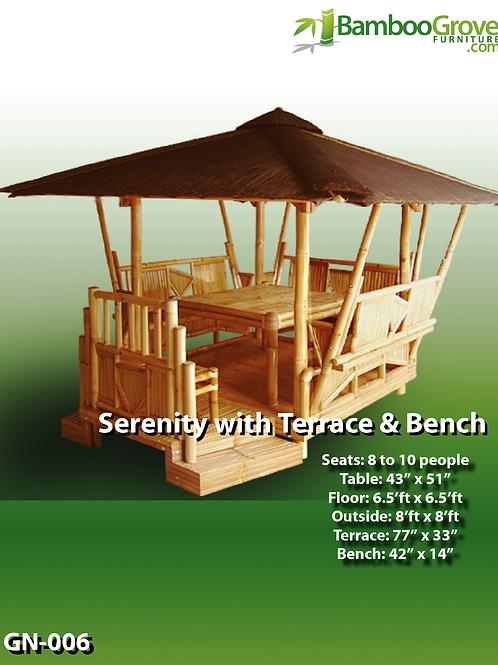 Bamboo Gazebo Serenity with Terrace & Bench