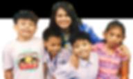 Four happy kids and their teacher