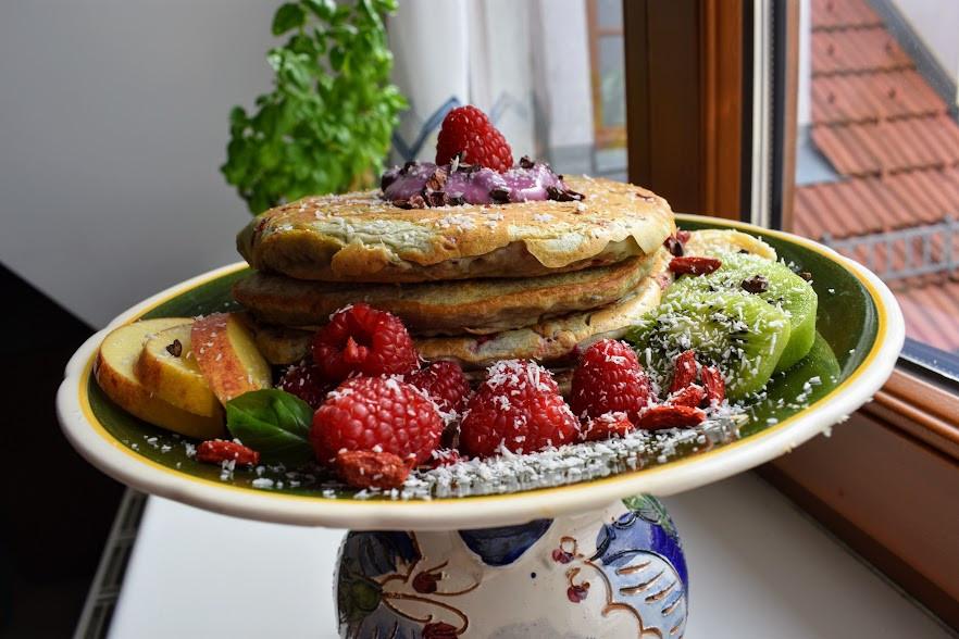 Vegan Raspberry Coconut Pancakes