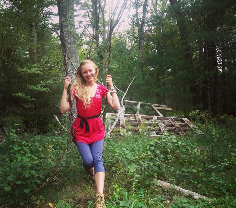 Dancing through the air on rusty swings tucked away by New England autumn cranberry bogs.