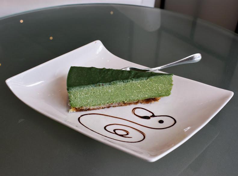 Artfully-presented Green Cashew Raw Cake