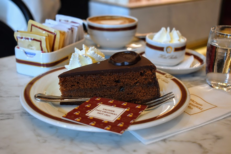 The classic Kaffee und Kuchen on a marble table