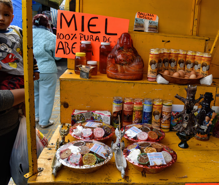Selling honey and candies in Mexico.
