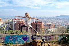 Yoga in Barcelona, Spain.