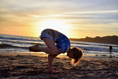 Yoga on the beach in Mexico.