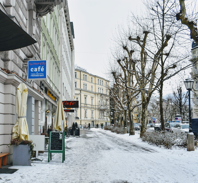 A snowy Salzburg exterior