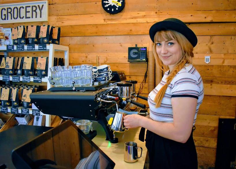Nina's latte-making work in action.
