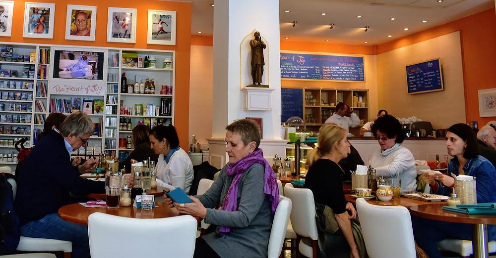 The café's sunny interior