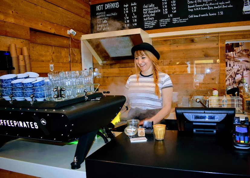 Catch Nina behind the bar at Coffee Pirates.