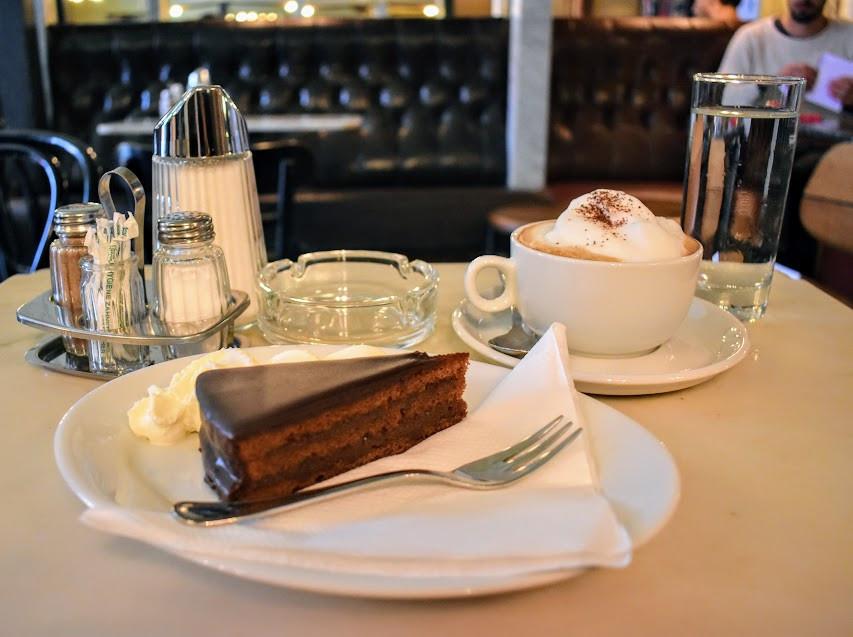 Sachertorte and cappuccino at Kleines Café.