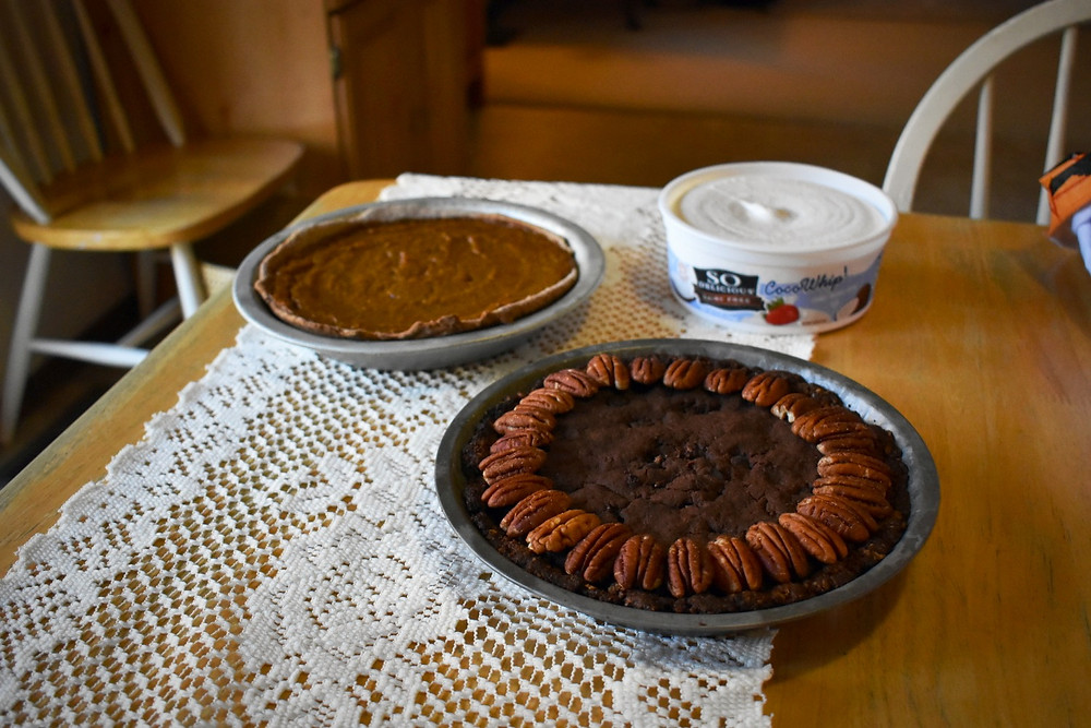 Vegan brownie pecan pie & classic pumpkin pie