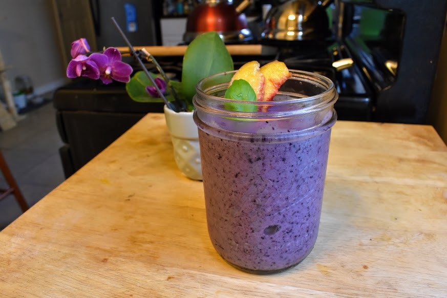 A lavender blueberry smoothie