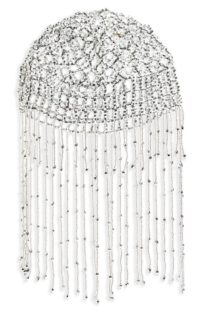 TOPSHOP Fringed Headpiece, Main, color, SILVER