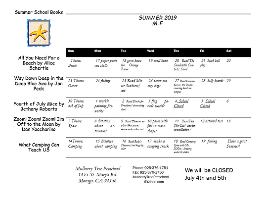 m-f summer 2019 newsletter calendar