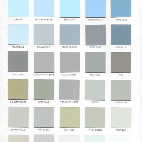 Hand Painted Blues Greens Colour Card