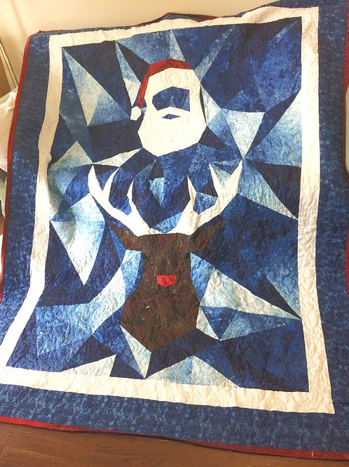 Perfect Christmas Quilt- Santa and Rudolph