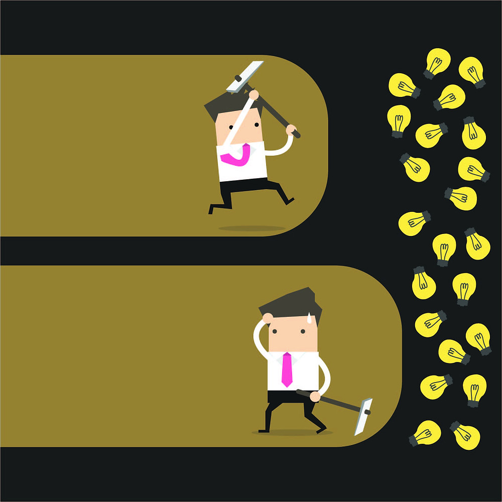 A businessman gives up just before reaching his goal.