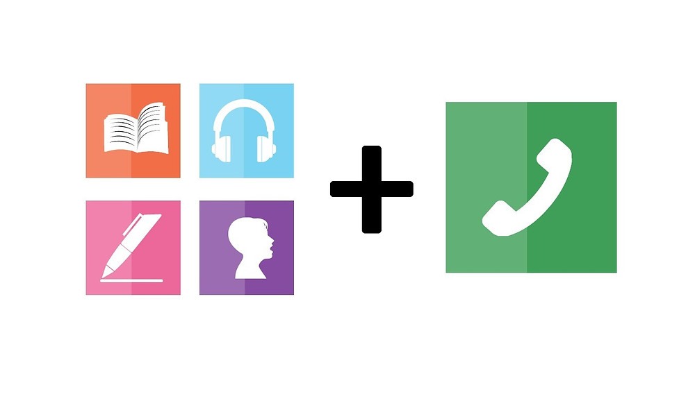Four square icons showing the four traditional language skills are show on the left and then a fifth icon (telephone calls) is added on the right side.