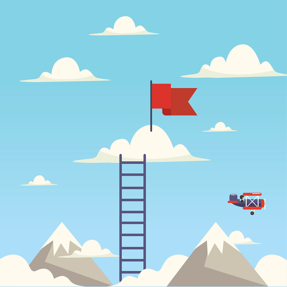 A flag is planted on a cloud with a ladder leading up to it as a businessman flies by in a small propelller plane.