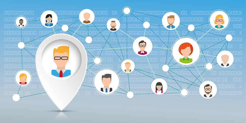 A professional network is show with the connections between people.