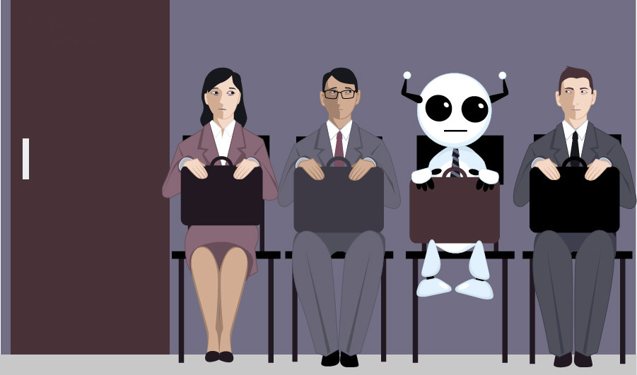 A robot in business attire waits among three other job candidates outside of the hiring manager's office.