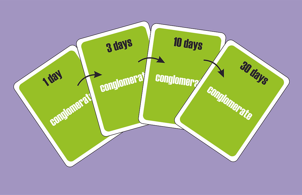 Four different flashcards showing how spaced repetition works