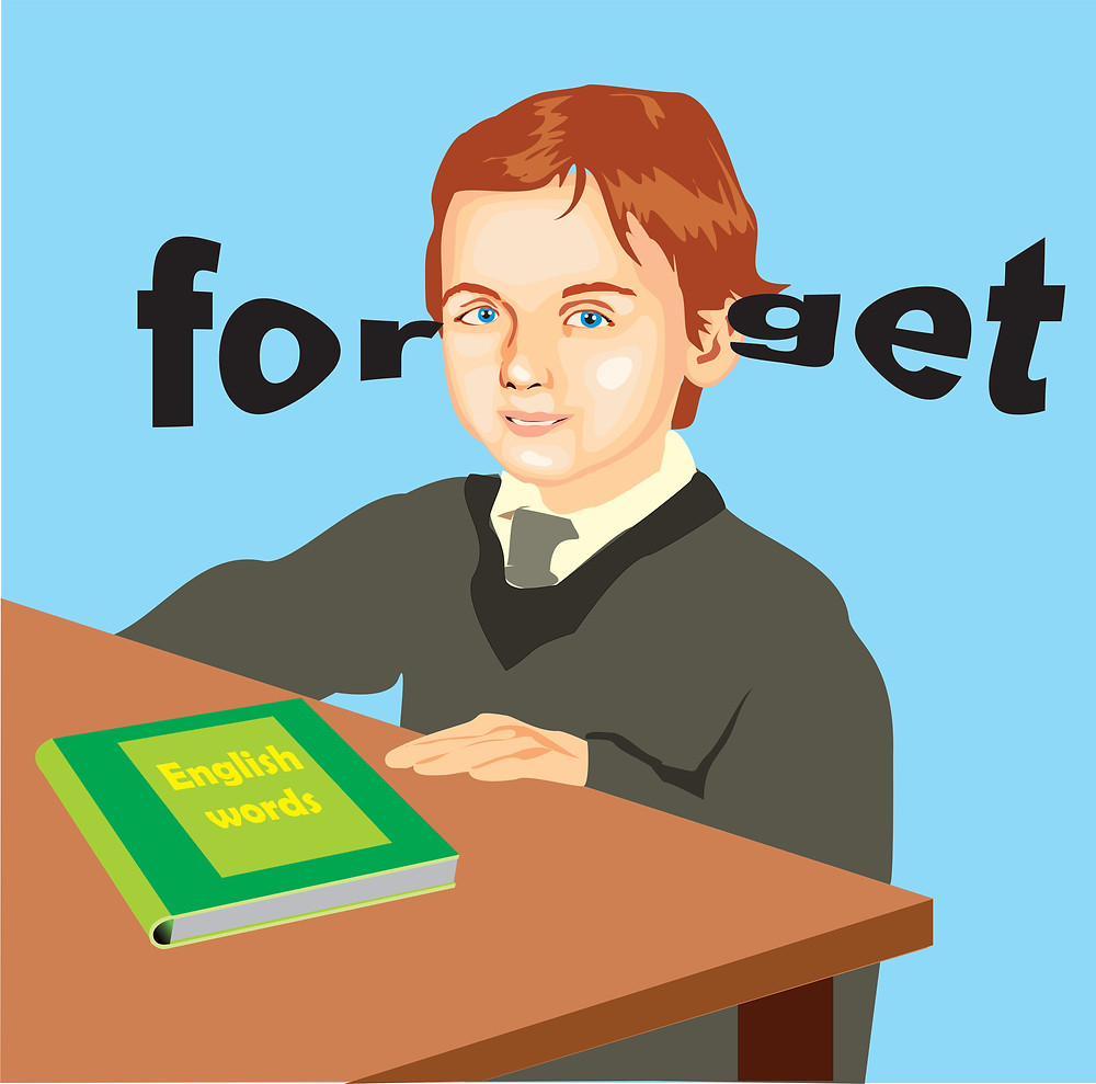 "A student with the English word ""forget"" going in one ear and out the other"