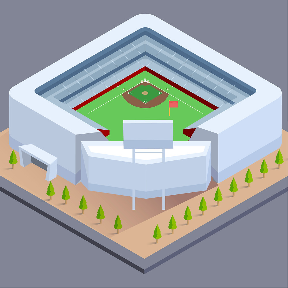 A baseball ballpark is shown from above with a flag planted on the ground inside.