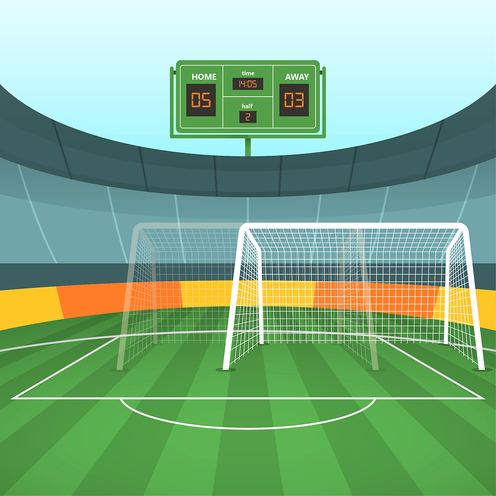 A moving soccer goal is shown in a stadium.