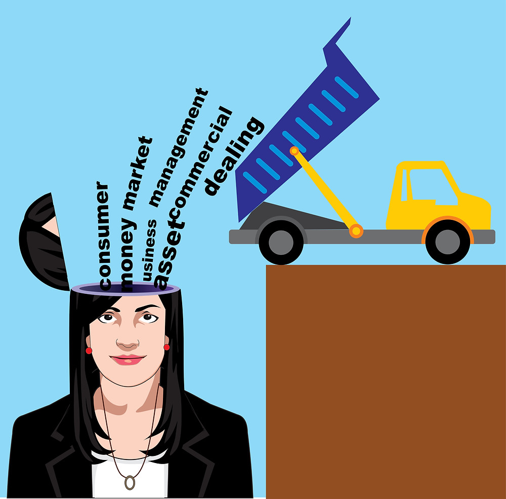A dump truck dumps business English vocabulary words in a businesswoman's head