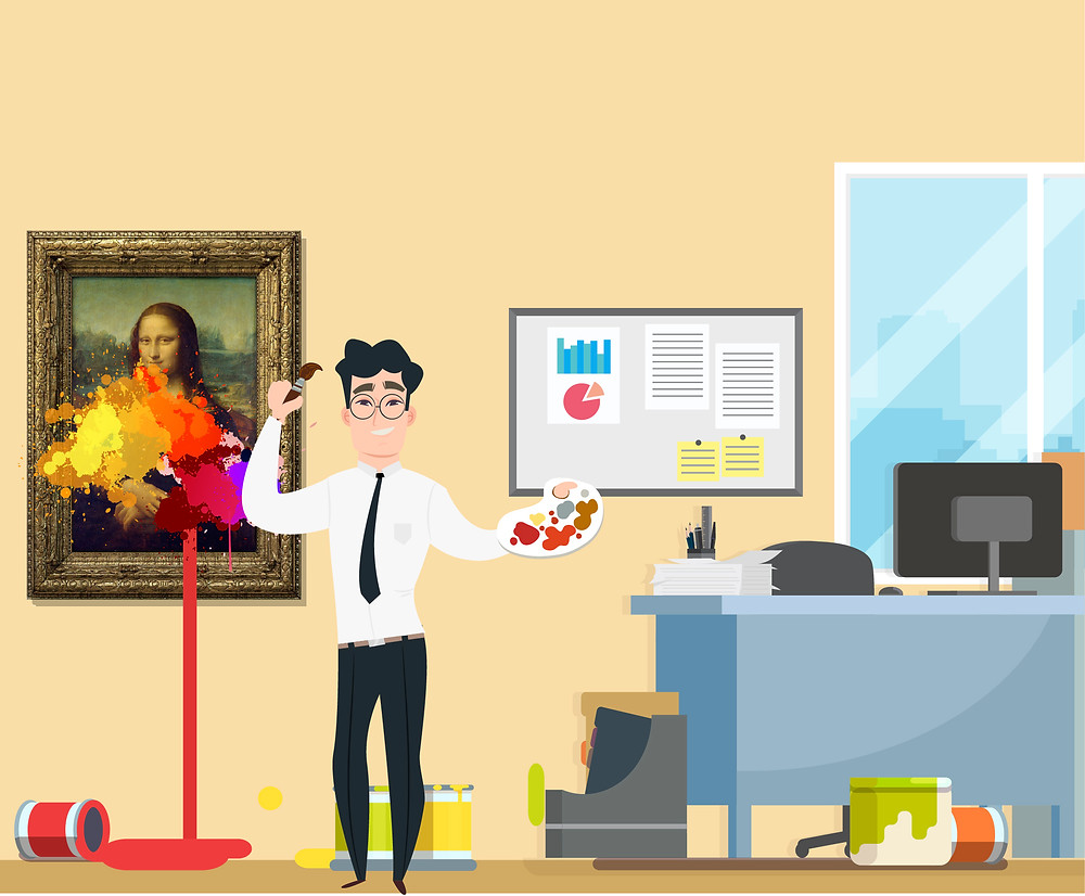A businessman destroys the Mona Lisa on the wall in his office by painting random colors all over it.