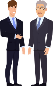 A senior businessman is annoyed by a young, confident businessman.