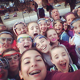 Girls first outdoor practice selfie! (Who's the crazy guy in the back_) Tag whoever I missed.jpg