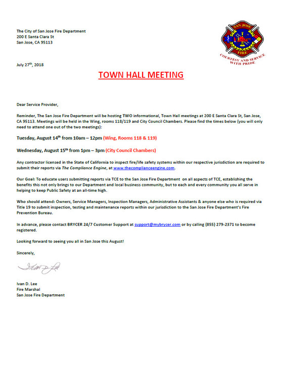 San jose Town Hall Meeting to discuss new Fire Code! August 14th & 15th
