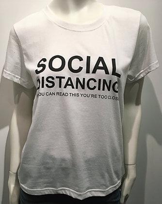 T-Shirt Social Distancing Blanc/Noir