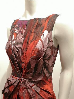BLUMARINE - Robe soie 45% rouge argenté - S