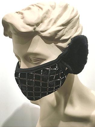 Masque velours et paillettes, cache oreilles