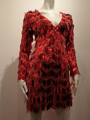 Robe paillettes rouge manches longues - XS