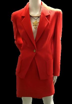 LOUIS FÉRAUD - Tailleur jupe laine, rouge - 14 (44)